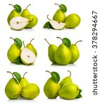 set of ripe green pear fruits... | Shutterstock . vector #378294667