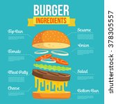 flat design burger components.... | Shutterstock .eps vector #378305557