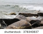 the waves and stones of the... | Shutterstock . vector #378340837