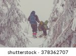 hiker with snowshoes in winter | Shutterstock . vector #378362707