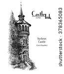 Hand Drawn Czech Church Tower...