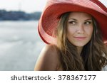 beautiful girl in a red hat... | Shutterstock . vector #378367177
