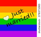 just married on rainbow flag | Shutterstock . vector #378371083
