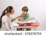 a young mother is quarreling... | Shutterstock . vector #378378793
