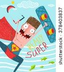 kitesurfing caricature... | Shutterstock . vector #378403837