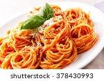 spaghetti with tomato sauce | Shutterstock . vector #378430993