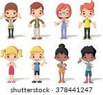 group of happy cartoon children.... | Shutterstock .eps vector #378441247