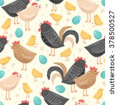 seamless pattern with chickens... | Shutterstock .eps vector #378500527