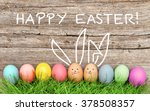 Easter Eggs And Cute Bunny In...