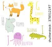 cute zoo alphabet. f  g  h  i ... | Shutterstock . vector #378512197