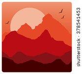 mountainous landscape in red... | Shutterstock .eps vector #378541453