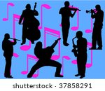 musicians vector silhouettes | Shutterstock .eps vector #37858291