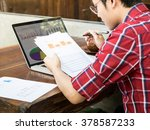 man thinking about graph and... | Shutterstock . vector #378587233