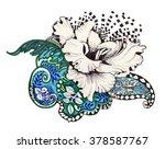 abstract felt tip pen flowers... | Shutterstock . vector #378587767