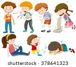 boys and girls being sick... | Shutterstock .eps vector #378641323