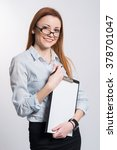 young pretty business woman...   Shutterstock . vector #378701047