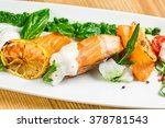 salmon steak with grilled... | Shutterstock . vector #378781543