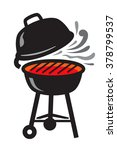 vector black bbq grill icons on ... | Shutterstock .eps vector #378799537