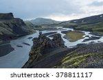 Vista over Iceland river in vulcanic landscape, Iceland