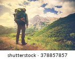 traveler man with backpack... | Shutterstock . vector #378857857