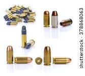Small photo of set of cartridges pistols ammo on white background