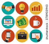 business work icons set. flat... | Shutterstock .eps vector #378903943