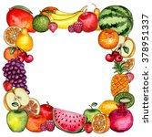watercolor fruit frame | Shutterstock . vector #378951337