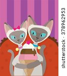 a pair of siamese cats are... | Shutterstock .eps vector #378962953