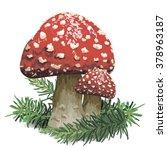illustration of a red mushroom... | Shutterstock .eps vector #378963187