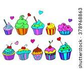 cake sweet birthday cupcake...   Shutterstock .eps vector #378968863