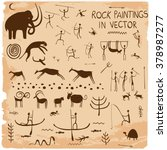 Set Of Rock Paintings In Vector.