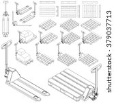 pallet   hand hydraulic pallet... | Shutterstock .eps vector #379037713