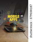 mobile apps over a smartphone... | Shutterstock . vector #379038187