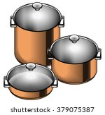 a set of three shiny copper... | Shutterstock .eps vector #379075387