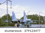 Small photo of MOSCOW; RUSSIA- JULY 13- Aircraft Su-27 fighter air supremacy on VDNH on July 13; 2015 in Moscow