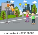 a boy playing basketball at the ... | Shutterstock .eps vector #379150003