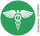 single round green caduceus... | Shutterstock .eps vector #379158037