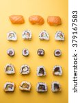 various kinds of sushi food... | Shutterstock . vector #379167583