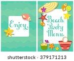 summer beach party menu cover   Shutterstock .eps vector #379171213