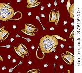 seamless pattern pottery teapot ... | Shutterstock .eps vector #379192507