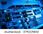 network servers in data room...   Shutterstock . vector #379219843