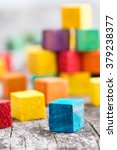 colorful wooden building blocks.... | Shutterstock . vector #379238377