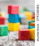 colorful wooden building blocks.... | Shutterstock . vector #379238383