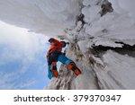 waterfall ice climbing in a... | Shutterstock . vector #379370347