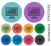 color monitor flat icon set on...