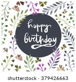 happy birthday card. watercolor ... | Shutterstock .eps vector #379426663