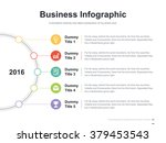Flat business presentation vector slide template with history diagram | Shutterstock vector #379453543