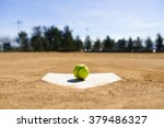 Baseball On A Home Plate In A...