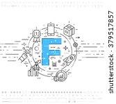 alphabet letter f. flat style ... | Shutterstock .eps vector #379517857