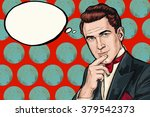 vintage  thinking pop art man... | Shutterstock . vector #379542373